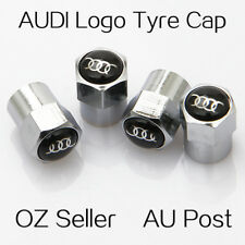 4PCS AUDI Logo Emblem Wheel Tyre Tire Cap Valve Stems Air Dust Cover Screw Caps