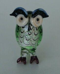 VINTAGE RETRO ART GLASS MURANO? COLOURED OWL FIGURINE SHADOW BOX ORNAMENT