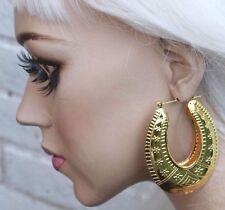 AZTEC DOOR KNOCKER ROUNDED GOLD TONE CREOLE HOOP LARGE EAST LONDON EARRINGS