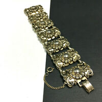 Vintage MARINO Bracelet WIDE Ornate Victorian Repousse FLOWERS Gold Tone SS112e