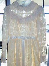 VINTAGE LONG LACE WEDDING DRESS BRIDAL GOWN LORRIE DEB DAISY DESIGN XS NICE
