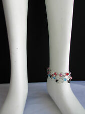 Women Silver Red Black Blue Beads Fashion Jewelry 5 Elastic Row Strands Anklets