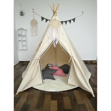 WIGWAM Large Kids Teepee Cotton Canvas Play Tent Tipi Indoor Outdoor