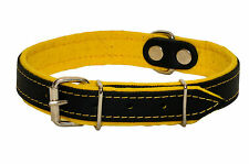 Real Leather DOG COLLAR Glossy BLACK with YELLOW FELT LINING Handmade