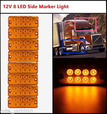 Side Marker Light Lamp Car Truck  Trailer Lorry Caravan Waterproof 8Pcs 12V 8LED