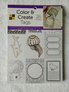 Color and Create Tags 26 Sheets Printed Cardstock with Gold Foil New