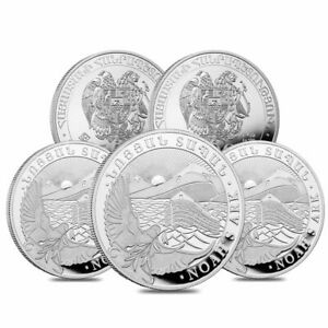 Lot of 5 - 2021 Armenia 1 oz Noah's Ark Silver Coin 500 Drams .999 Fine BU