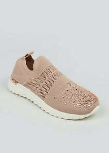 Womens Speed Sock Trainers Pull On Sneakers Stretch Knit Gem Pumps UK Size 6
