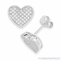 Micro-Pave Cubic Zirconia CZ Crystal Heart Stud Earrings in 925 Sterling Silver