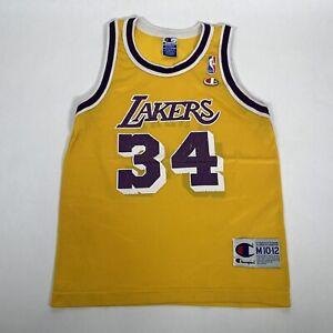 Vintage 90s Champion Boys Lakers Shaq Basketball Jersey MEDIUM 10-12