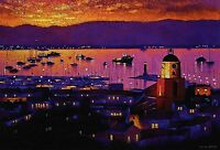"""MICHAEL LAWES """"Bay of St Tropez"""" riviera SIGNED LIM ED! SIZE:45cm x 64cm NEW"""