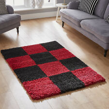 Small Extra Large Thick Soft Rug Modern 5cm High Quality Shaggy Non Shed Rugs 3. Chess Red / Black 180x270cm (6x9')