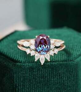 2Ct Oval Cut Alexandrite Solitaire Bridal Engagement Ring 14K Yellow Gold Finish