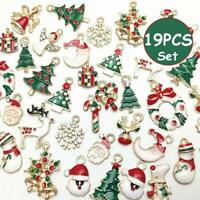 19pcs Metal Alloy Mixed Christmas Charms Set Jewellery Pendants Party Home Decor