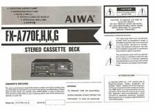 AIWA FX-A770 - SORTING SYSTEM - USER OWNER'S MANUAL - EN DE FR ES ITJP, 日本語 -