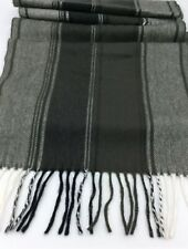 "Scottish Mens Cashmere Scarf Black & Gray Fringe Made in Scotland 68 X 12""  SOFT"