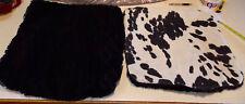 Pair of Black Cream Dalmation Decorative Print Throw Pillows 18 x 18