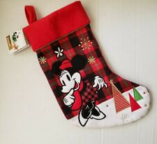 Disney Minnie Mouse Christmas Holiday Stocking Nwt Red Black Plaid Checkered
