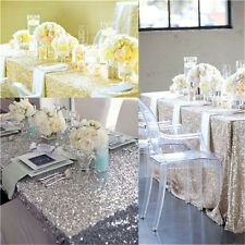 "Silver 60x102"" Rectangle Sequin Tablecloth Decoration Party Wedding Christamas"