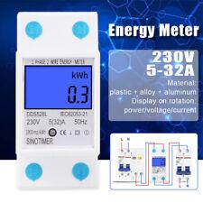 NEW 5-32A 230V 50Hz DDS528L Digital LCD Electric Energy Meter Backlight Display