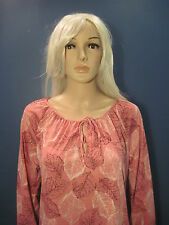 size 14 XL coral pink long sleeved summer tunic style LEAF blouse by LUCKY WINNE