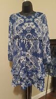 New IN AWE Floral Long Sleeve Sheer Navy Blue & White Short Dress Size S Small