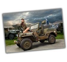"WW2 Photo Jeep Girl Pinup Nice Woman Sexy Glossy Size ""4 x 6"" inch T"
