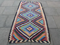 Old Hand Made Traditional Persian Rug Oriental Wool Blue kilim 210x130cm
