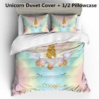 3D Unicorn Kids Bedding Set Duvet Quilt Cover Comforter Cover Set Pillowcase