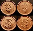 4 x 1¢ varieties of 2003 CANADA Pennies Scarce Set - all UNC