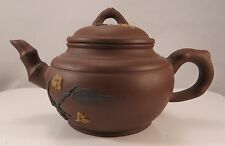 Chinese Yixing Ceramic Teapot Plum Blossoms & Leaves Signed Clay China 400 ml