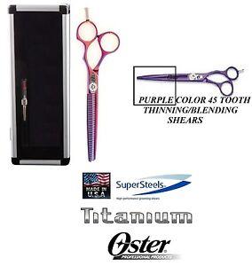 Oster TITANIUM SUPERSTEELS PURPLE THINNING BLENDING 45 Tooth SHEAR Scissor&CASE