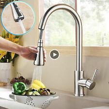 360° Küchenarmatur Ausziehbar Wasserhahn Spültisch Mischbatterie Armatur Nickel