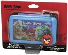Nintendo 3DS & DSi * NEW Official ANGRY BIRDS 3D Gamer 4 pc BLUE Carry Case Set