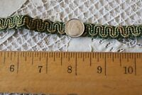 "Antique Christmas Green French 19thC Tiny 1/3"" Silk Gimp~Passementarie~Dolls~94"""