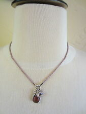 Fossil Mauve Woven Cord Necklace With Sterling Silver Accents and Charms $80-NWT