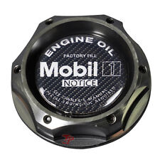 Gunmetal Engine Oil Filler Cap Tank Cover Jdm Aluminum Carbon Fiber Mobil 1