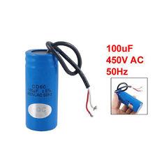 ET 100uF 450V AC CD60 2 Black Wire Lead-Motorstart-Betriebskondensator