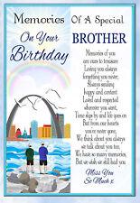 LARGE BROTHER BIRTHDAY MEMORIAL BEREAVEMENT GRAVESIDE  CARD & FREE HOLDER 1