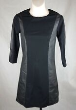 Ted Baker dress size 0 Au 6 Black leather polyamide mini lbd Ponte stretch