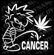 "Large 6"" Calvin pee piss on Cancer sticker 420 marijuana weed vinyl window decal"