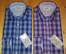 Ted Baker Camisa Azul O Violeta Cuello de cuadros 14.5 O 15 Nuevo sin etiquetas