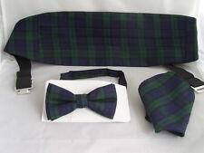(A) TARTAN-Black/Green/Blue Bow Tie Cummerbund and Hankie Set - Black Watch