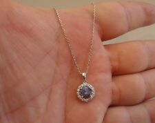 FINE 925 STERLING SILVER  NECKLACE  PENDANT W/ 2.75 CT TANZANITE & DIAMOND/18''