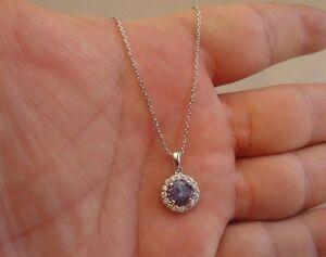 FINE 925 STERLING SILVER  NECKLACE  PENDANT W/ 2.75 CT TANZANITE & DIAMOND/18''