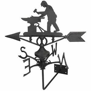 Blacksmith Weather Vane Vain Wall Mount House Roof Cast Iron Workshop Anvil