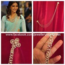 INDIAN Pakistani Sonam K Bridal Gold & Clear Saree Belt, Saree & Sherwani Brooch