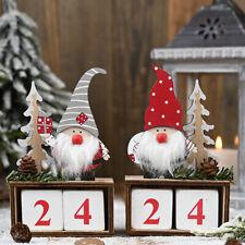 Christmas Wooden Advent Calendar Countdown Elf Claus Xmas Party Decor Ornament