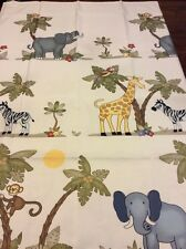 Jungle Safari Animals Shower Curtain Fabric Trees Beige With Multi-Colors New