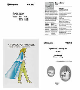 Viking Huskylock 435 435D 535 535C 535D Service or Instruction & Workbook on CD